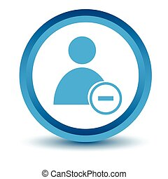 Blue remove user icon on a white background. Vector...