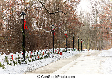 Old Style Street Lamps Christmas - A snow covered street...
