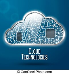 Cloud computing technology concept illustration, steel with...