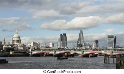 Modern London and Thames River - View upon Modern London and...