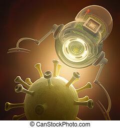 Nanobot, X, virus,