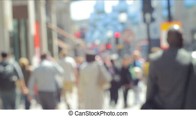 People in the City Out of Focus