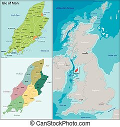 Isle of Man - Map of administrative divisions the Isle of...