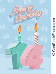 Happy birthday card with 14