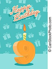 Happy birthday card with 9