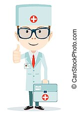 Friendly Doctor flat cartoon character shows signs all ok,...