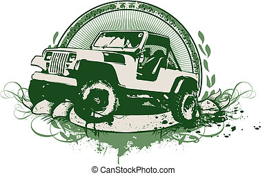 vintage military vehicle - Vector insignia and banner Grunge...