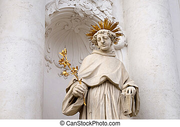 Saint Anthony of Padua on the portal of Mariahilf church in...