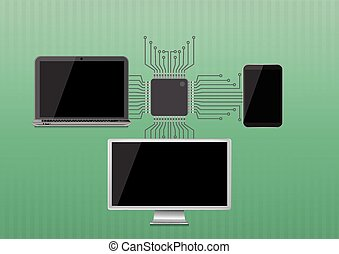 electronic device - illustration of technology with black...