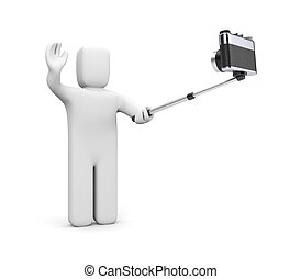 Selfie - Man shoots himself Isolated on white