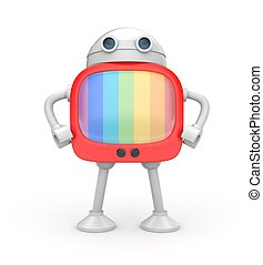 Tv robot - Electronics and technologies metaphor Isolated on...