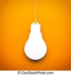 Light bulb hanging on the rope. Conceptual 3d image