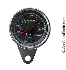 Speedometer of a motorcycle in white background