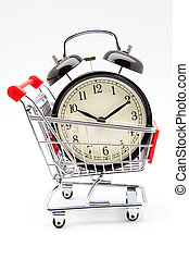 shopping cart - alarm clock in a shopping cart