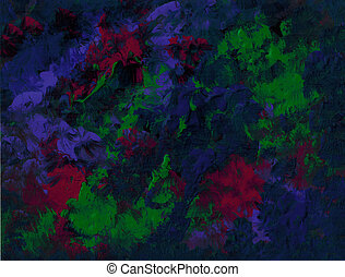 Abstract Blue Green - Vivid acrylic in blue, green and red