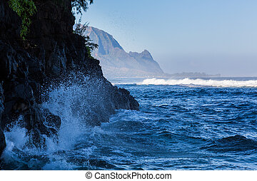 Headland of Hanalei on island of Kauai - Hideaways beach...