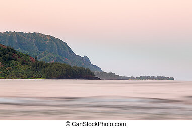 Headland of Hanalei on island of Kauai - Bay at Hanalei in...