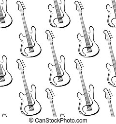 Outline electric guitars seamless pattern - Seamless music...