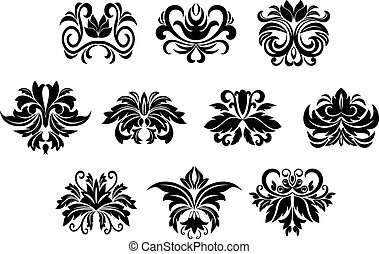 Floral design elements with leaves scrolls
