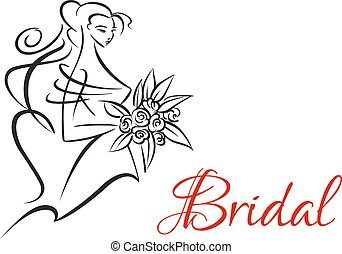 Bridal invitation template with pretty bride - Bridal...