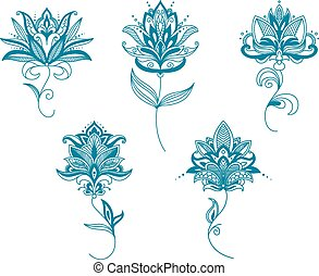 Blue persian flowers in paisley style - Delicate persian...