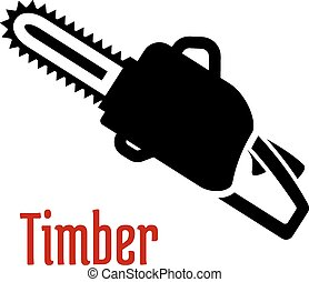 Black petrol chainsaw logo or emblem - Black petrol chainsaw...