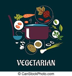 Cooking vegetarian dish flat infographic - Vegetarian dish...
