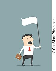 Cartoon flat businessman with white flag