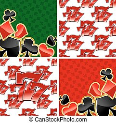 777 seamless patterns and card suits backgrounds - Jackpot...
