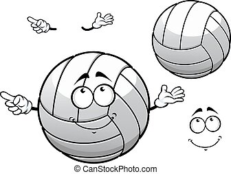 Cartooned smiling white volleyball ball