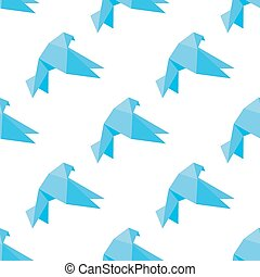 Seamless origami doves or pigeons pattern