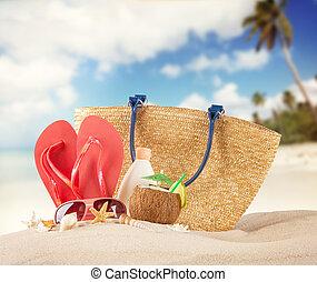 verão, sandálias, praia, vermelho, conchas
