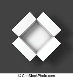 Open box mockup template. Top view. Vector Illustration...