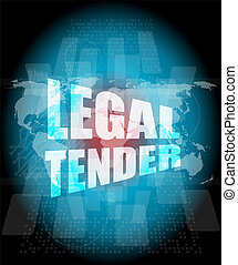 touch screen interface with legal tender words