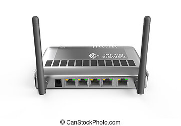 router back view - silver router back view isolated on white...