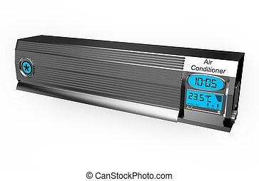 Silver air conditioner isolated on white background