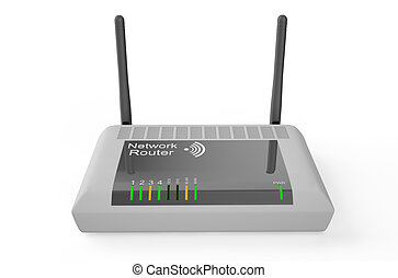 White wireless router 2 - wireless router isolated on white...