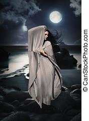 hermoso, misterioso, woman, ,