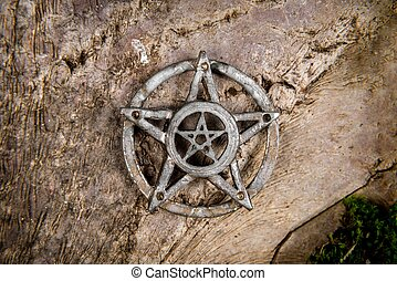 Pentagram closeup photo - Old steel Pentagram closeup photo...