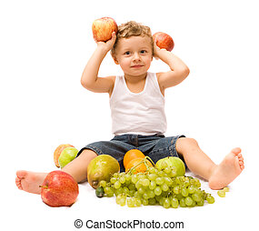 Boy with fruits