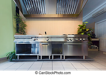 Professional kitchen in modern building closeup photo