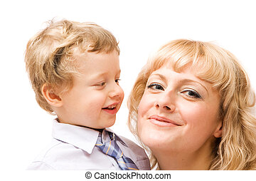 Happy family - Happy mother with her boy Isolated over white...