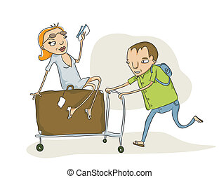 travel - vector sketch of man pushing an overloaded baggage...