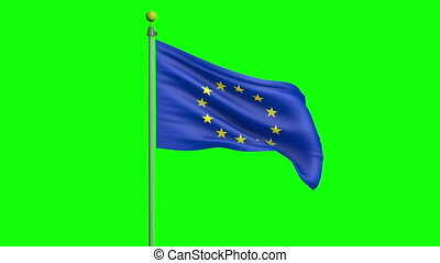 Waving European Union flag - European union flag on a pole,...