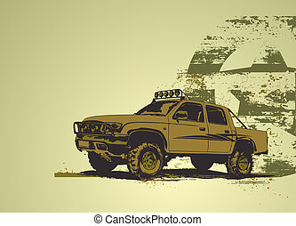 vintage military vehicle - vector illustration of stilyzed...