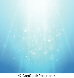 Blue rays of light. Vector bokeh blurred background
