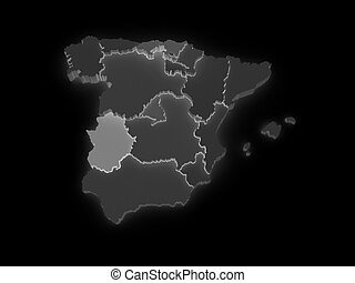Three-dimensional map of Spain.