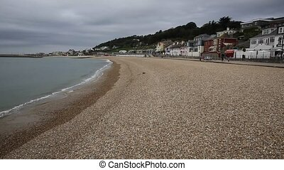 Lyme Regis beach and waves Dorset - Lyme Regis Dorset...