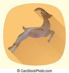 Vector illustration of goat, symbol of 2015 on the Chinese calendar. Silhouette of goat in flat design style.
