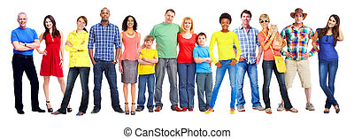 People group - Large smiling People group isolated white...
